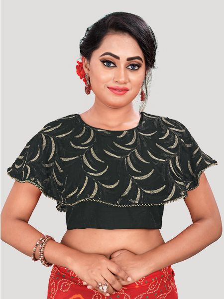 Shop Fancy Black Silk Readymade Blouse  - Online Shopping From YOYO Fashion