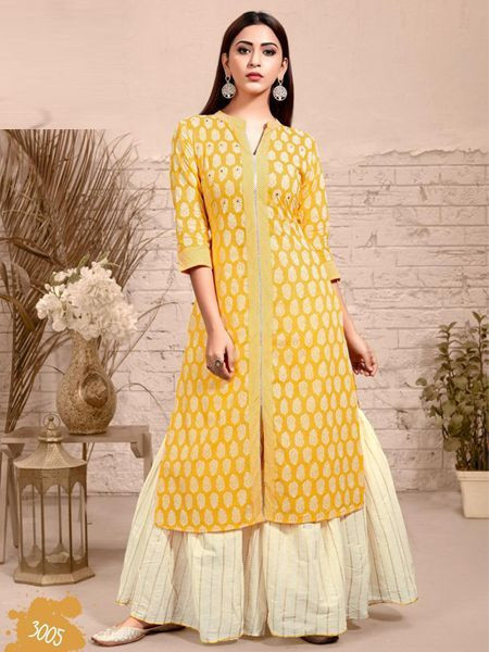 Shop Stylish Yellow Cotton Sharara Dress - Online Shopping From YOYO Fashion