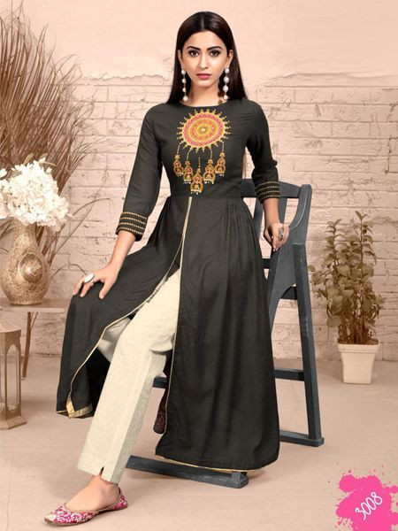 Fancy Rayon Black Kurti with Pant