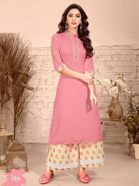 Shop Stylish Light Pink Rayon Kurti With Palazzo Set Design 2019 For Women - YOYO Fashion