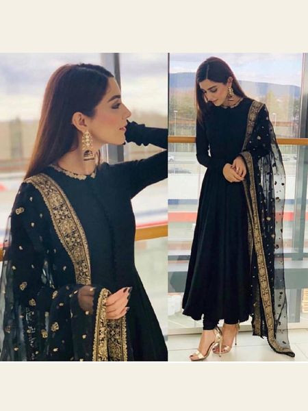 Buy Manushi Chhillar Bollywood Designer Black Anarkali Suit Online from YOYO Fashion