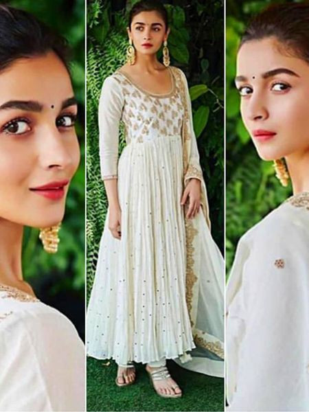 Alia Bhatt Georgette White Anarkali Suit Design