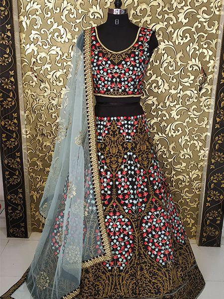 Designer Black Silk Lehenga Choli