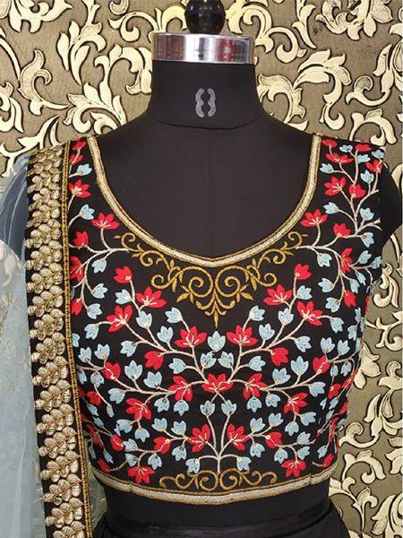 Designer Black Silk Embroidered Work Lehenga