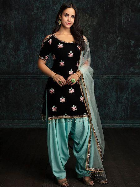 Designer Velvet Black Patiala Suit
