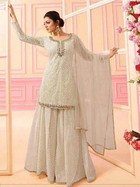Drashti Dhami Cream Georgette Bollywood Designer Sharara Suit
