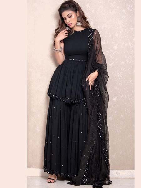 Mouni Roy Georgette Designer Black Sharara Suit