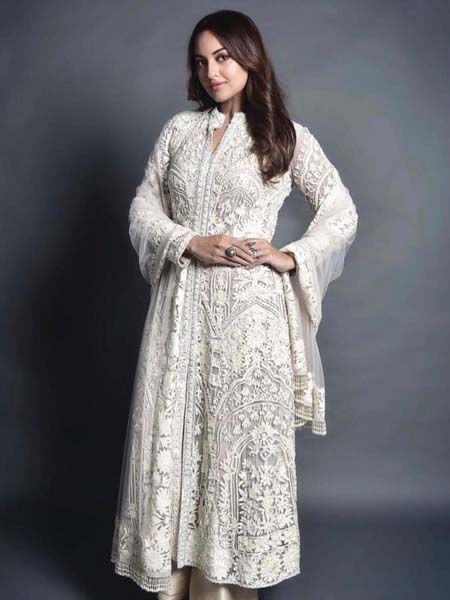 Sonakshi Sinha White Embroidered Party Wear Anarkali Suit