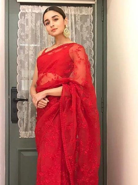 Alia Bhatt Embroidered Designer Red Saree