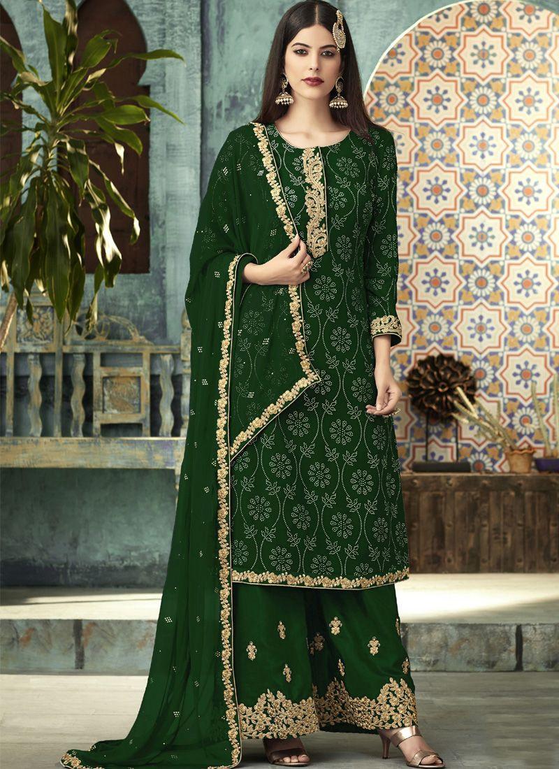 Latest Designer Green Pakistani Sharara Dress for Eid @ YOYO Fashion