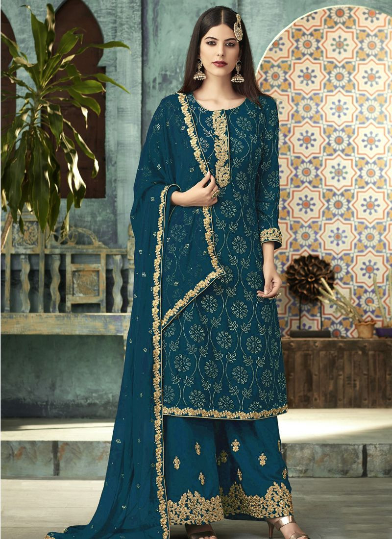 Girls Turquoise Embroidered Designer Sharara Suit