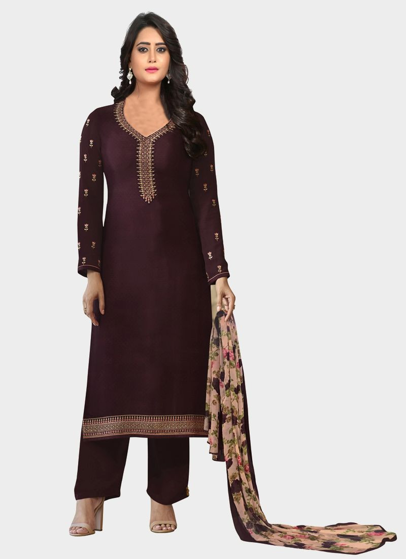 Brown Designer Salwar Suit With Printed Dupatta