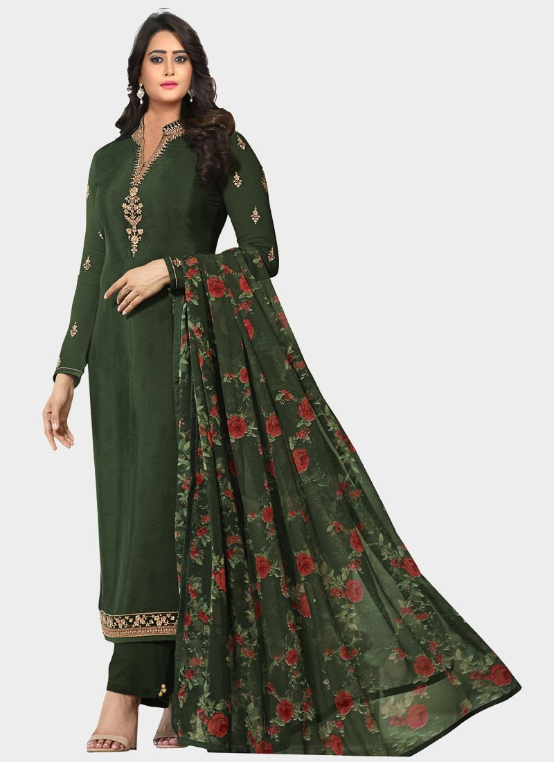 Latest Green Designer Salwar Suit With Printed Dupatta