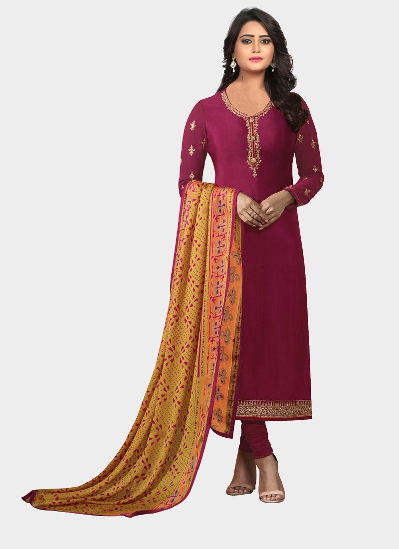 Red Designer Salwar Suit With Printed Dupatta