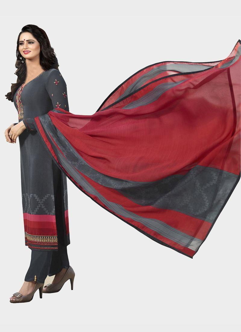Latest Grey Designer Salwar Suit With Printed Dupatta