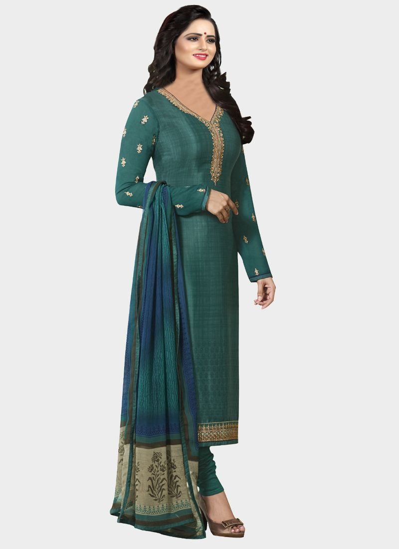 Latest Turquoise Designer Salwar Suit With Printed Dupatta