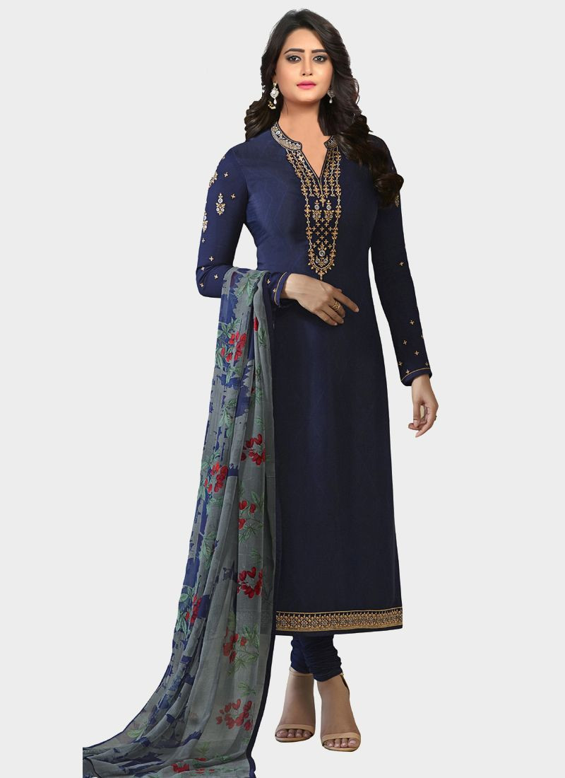 Latest Navy Blue Designer Salwar Suit With Printed Dupatta