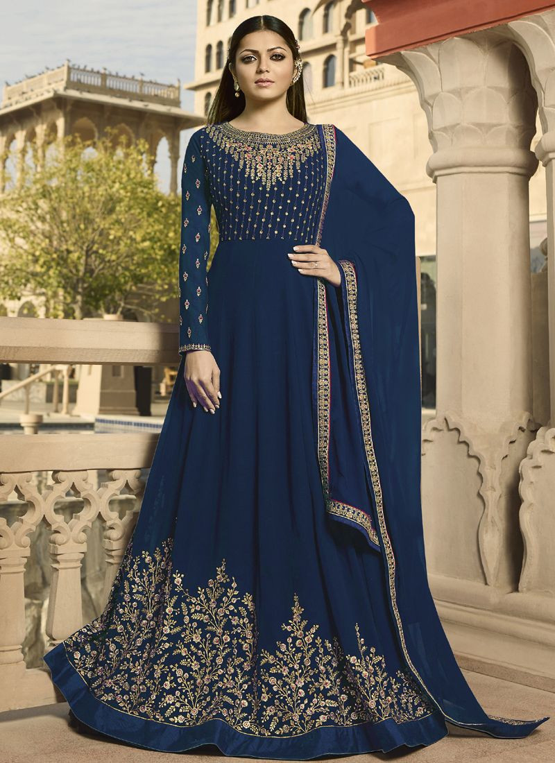 BuyDrashti Dhami Blue Georgette Indian Bollywood Anarkali Suit Online From YOYO Fashion