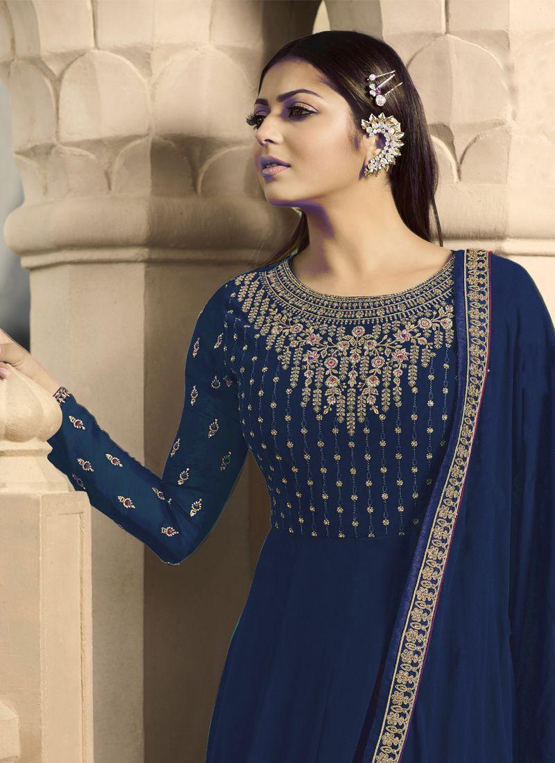 Drashti Dhami Blue Georgette Indian Bollywood Anarkali Suit
