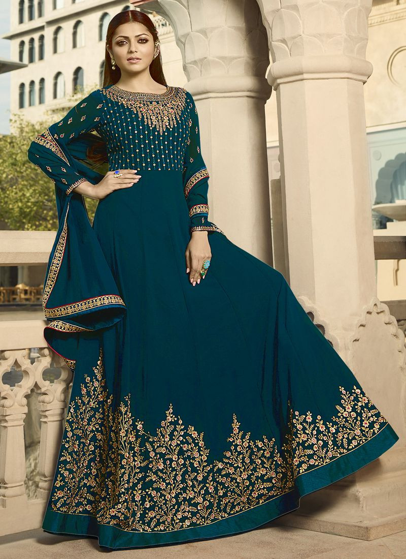 Drashti Dhami Embroidered Bollywood Long Anarkali Suits in Turquoise