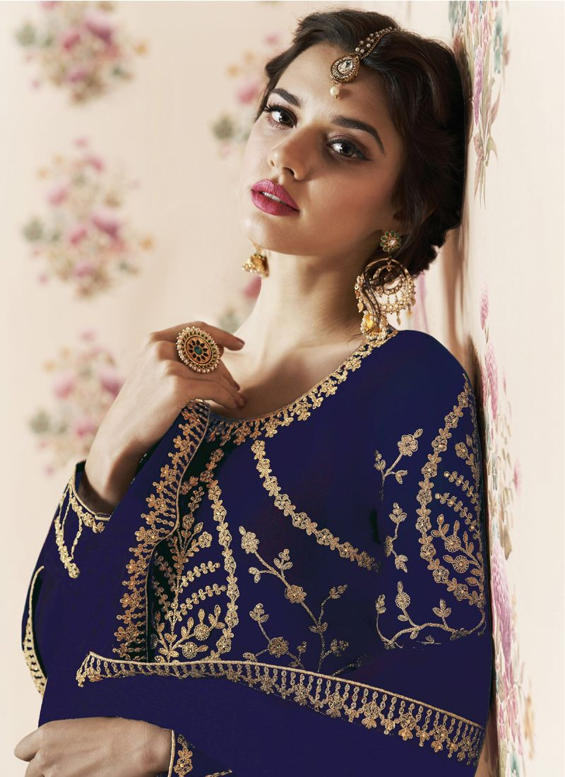 Stylish Blue Long Anarkali Dress with Embroidery