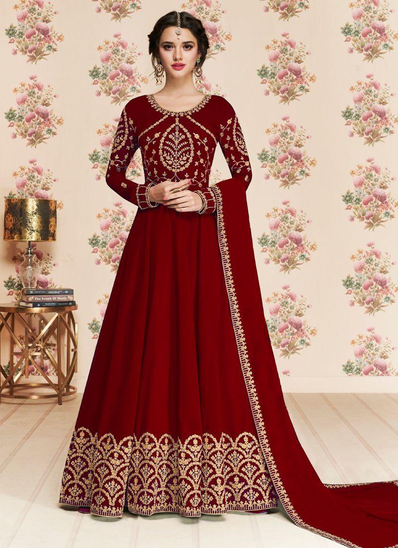 Stylish Maroon Party Wear Long Anarkali Dress for Women