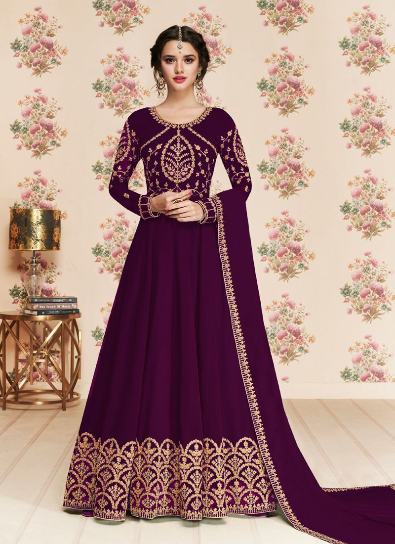 Stylish Girls Purple Long Anarkali Dress with Embroidery