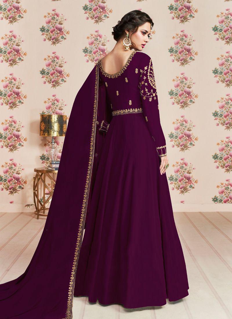 Stylish Girls Purple Long Anarkali Dress with Embroidery