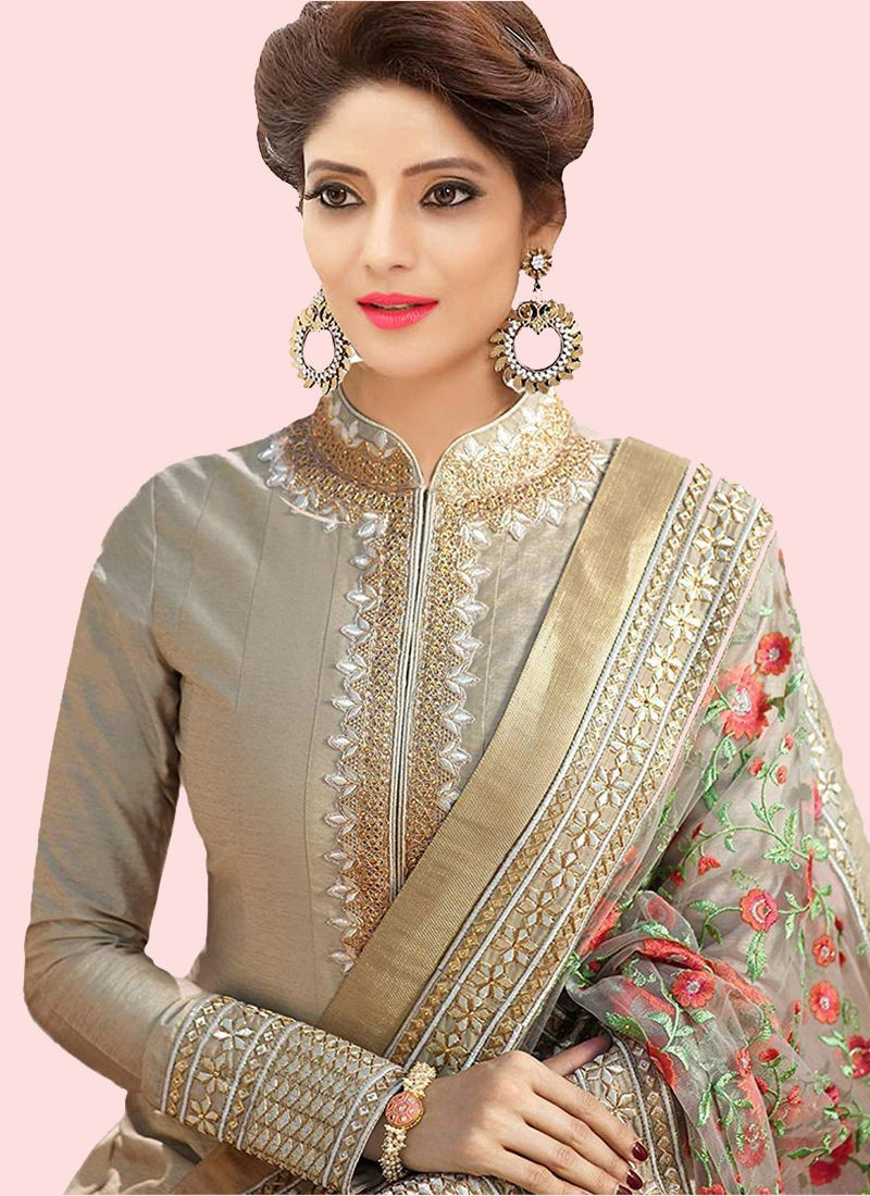 Plain Grey Silk Anarkali Suit with Embroidered Net Dupatta