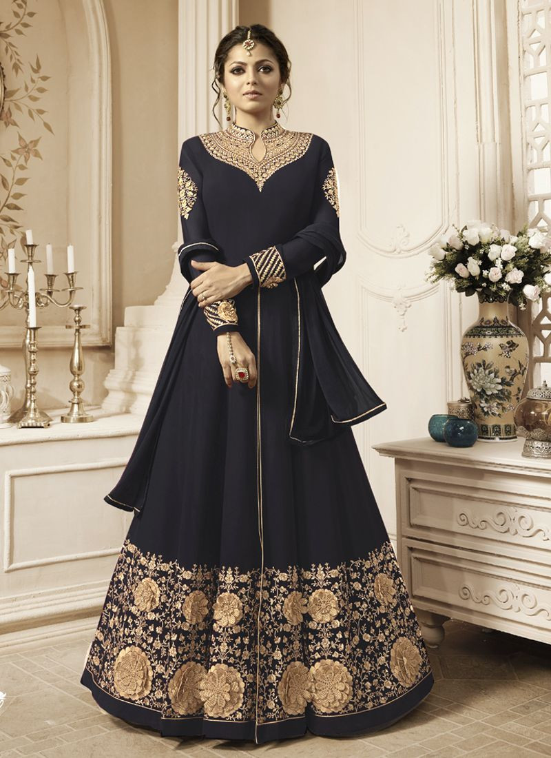 Buy Drashti Dhami Floral Embroidered Bollywood Black Anarkali Suit Online From YOYO Fashion