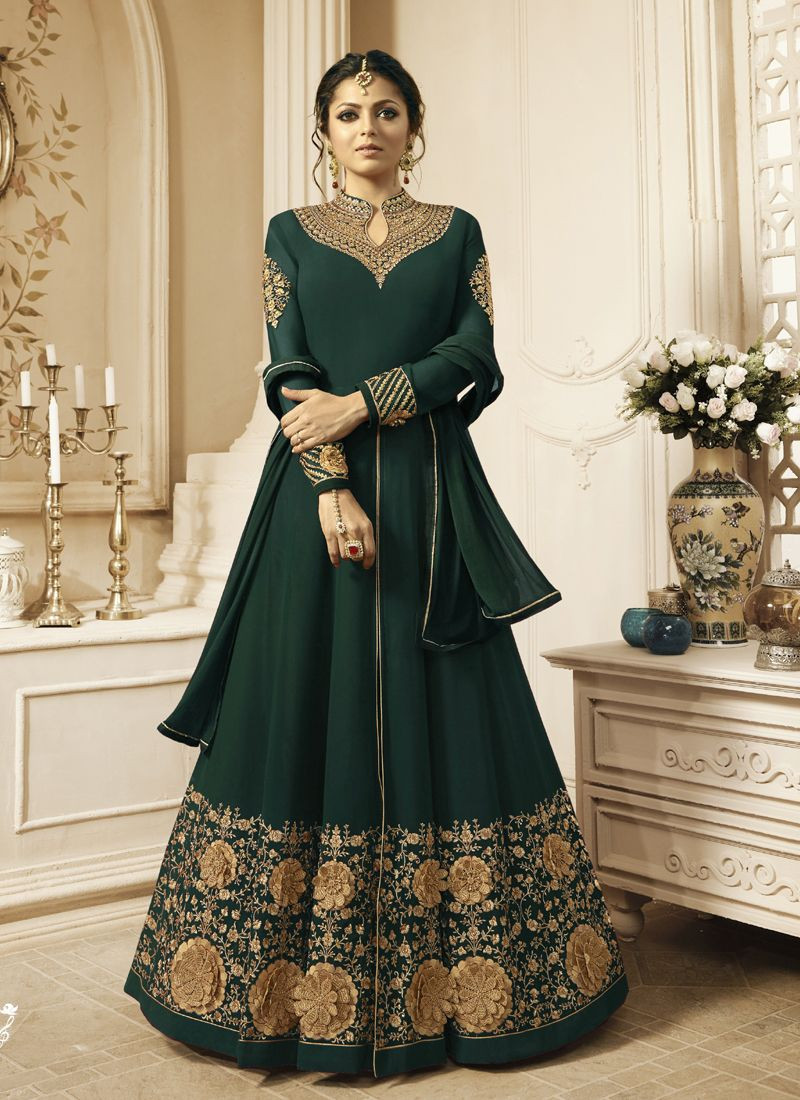 Drashti Dhami Green Georgette Bollywood Party Wear Anarkali Suit