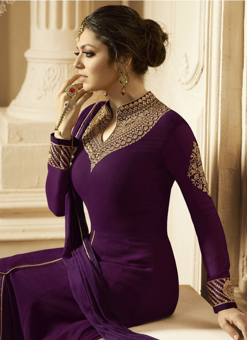 Drashti Dhami Designer Purple Bollywood Anarkali Suit 2020