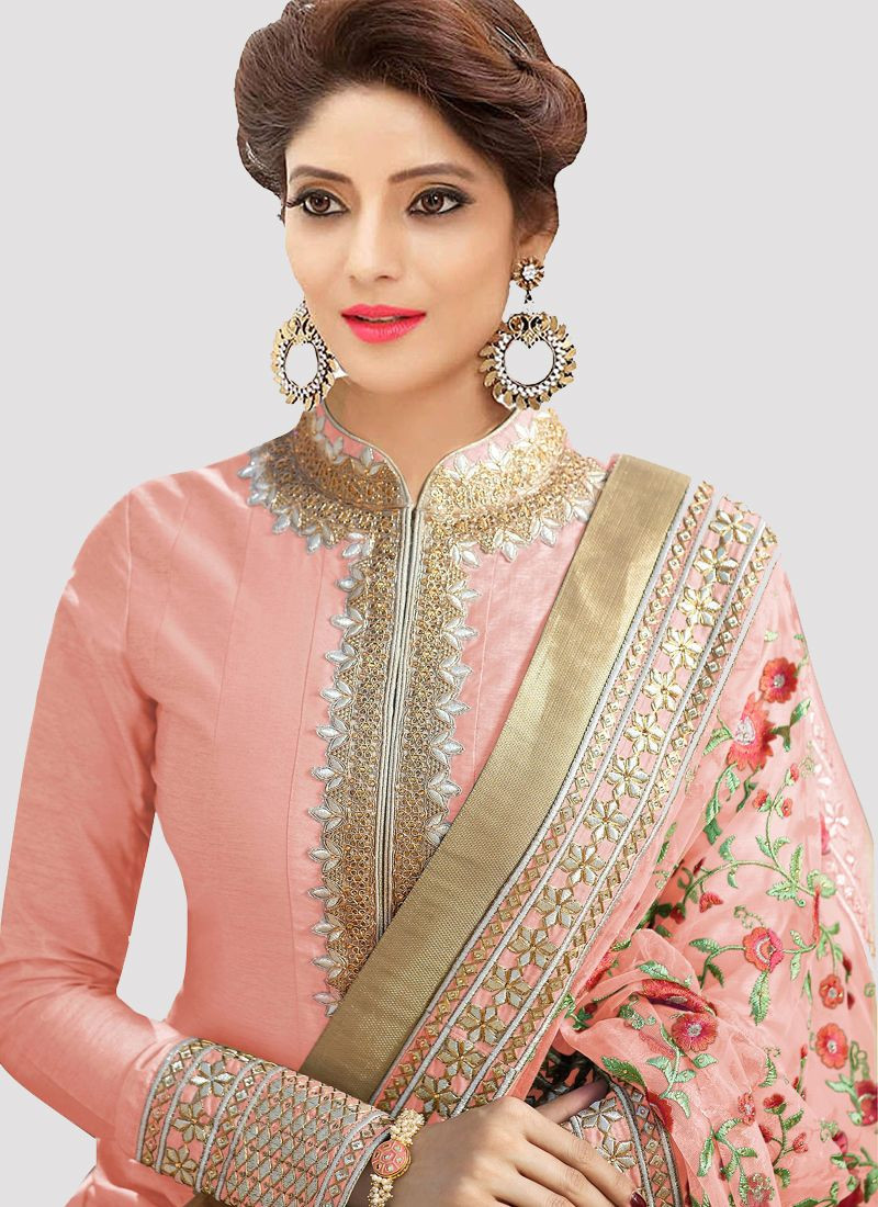 Plain Peach Silk Anarkali Suit with Embroidered Net Dupatta