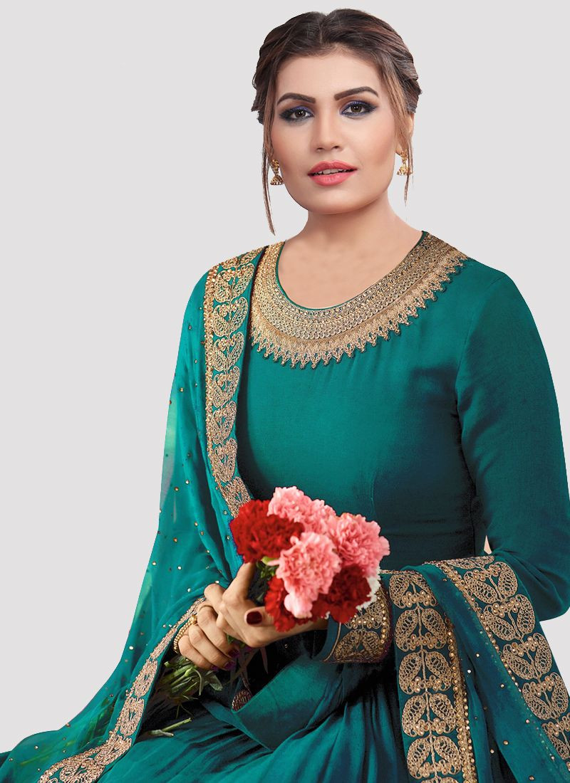 Partywear Turqiouse Designer Georgette Anarkali Suit for Eid