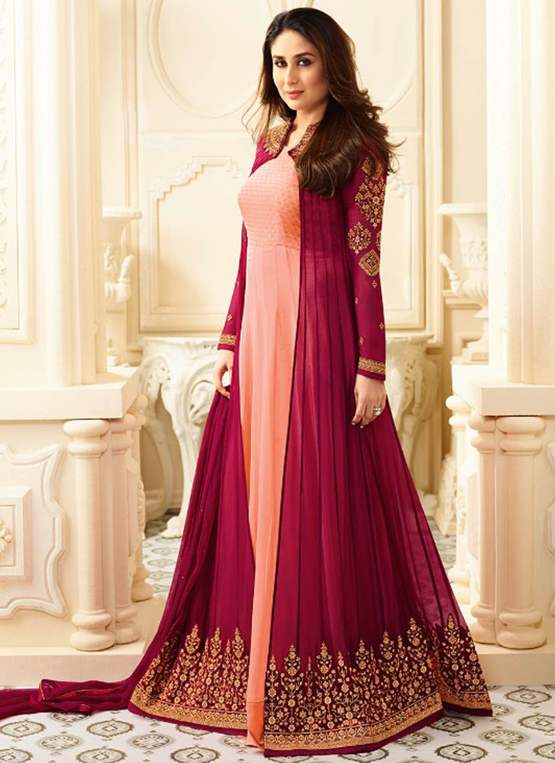 Buy Kareena Kapoor Bollywood Designer Peach & Maroon Party Wear Anarkali Suit 2020 Online From YOYO Fashion