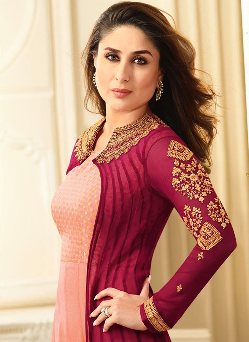 Kareena Kapoor Peach & Maroon Suit's Front Neck Pattern