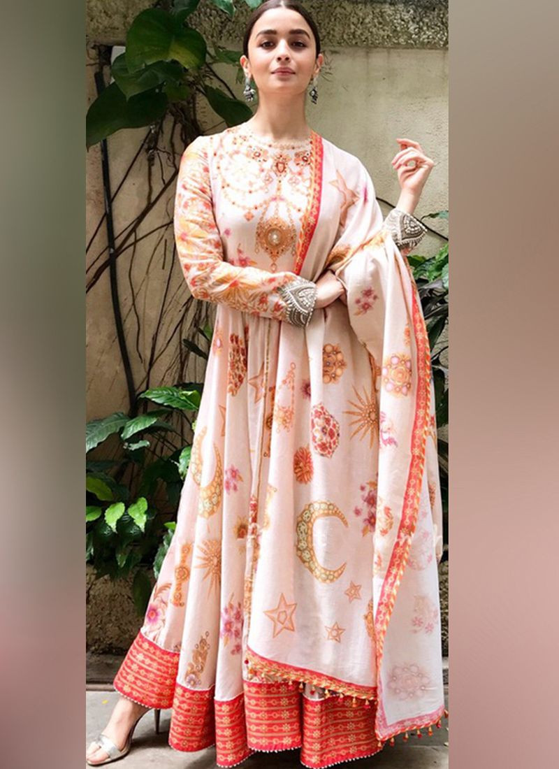 Buy Alia Bhatt Peach Designer Bollywood Long Anarkali Dress Online From YOYO Fashion