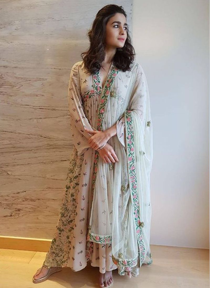 Alia Bhatt Designer Grey Bollywood Anarkali Suit With Dupatta