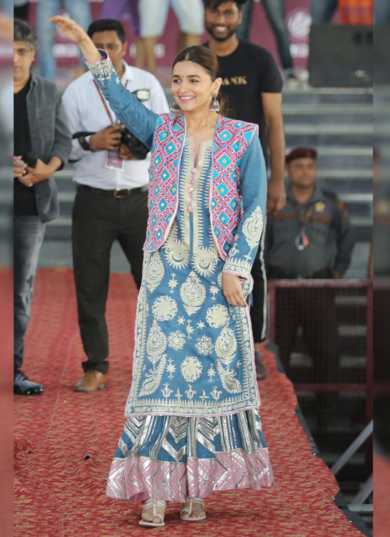 Alia Bhatt Sky Blue Bollywood Designer Plazo Suit with Koti