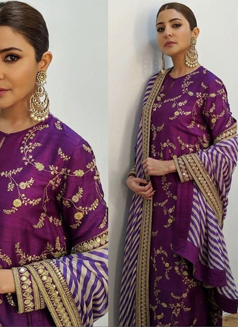 Anushka Sharma Sabyasachi Purple Silk Bollywood Salwar Suit