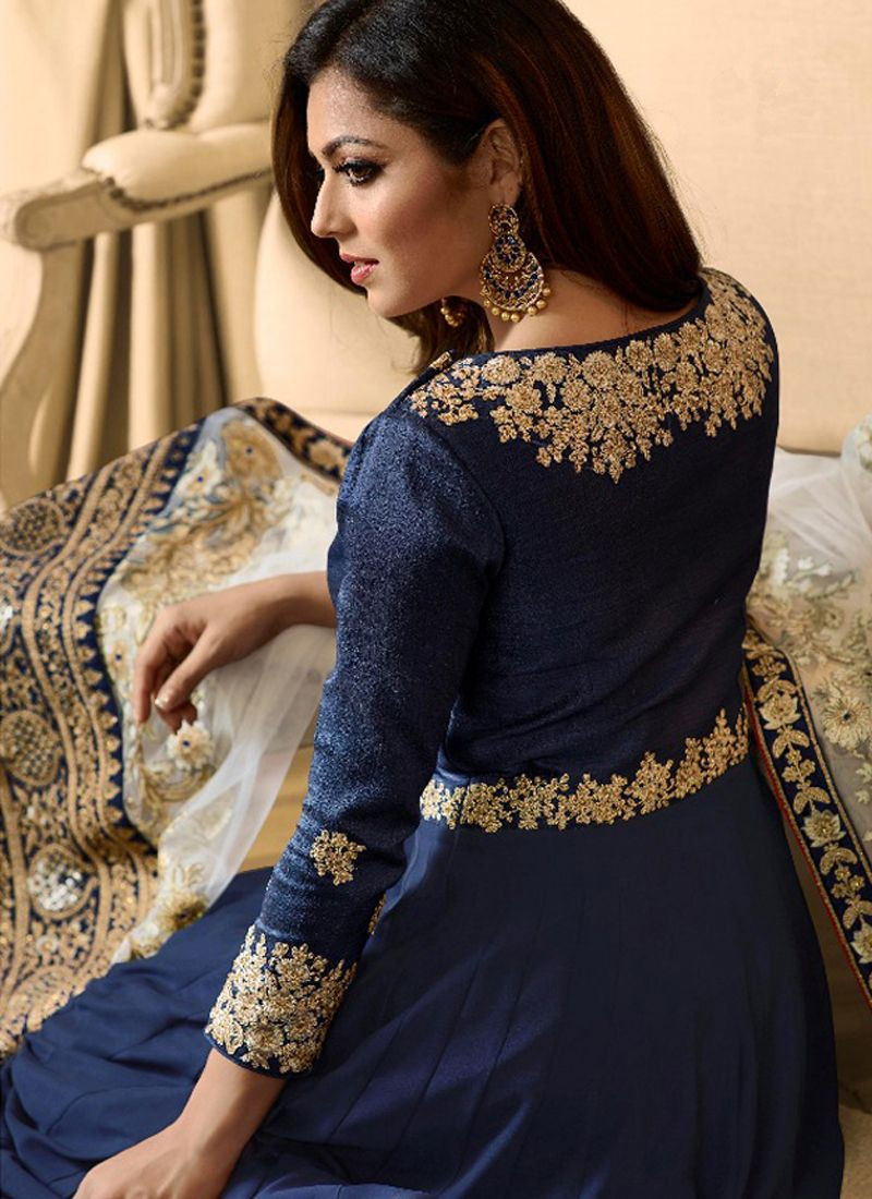 Drashti Dhami Party Wear Blue Long Bollywood Anarkali Gown