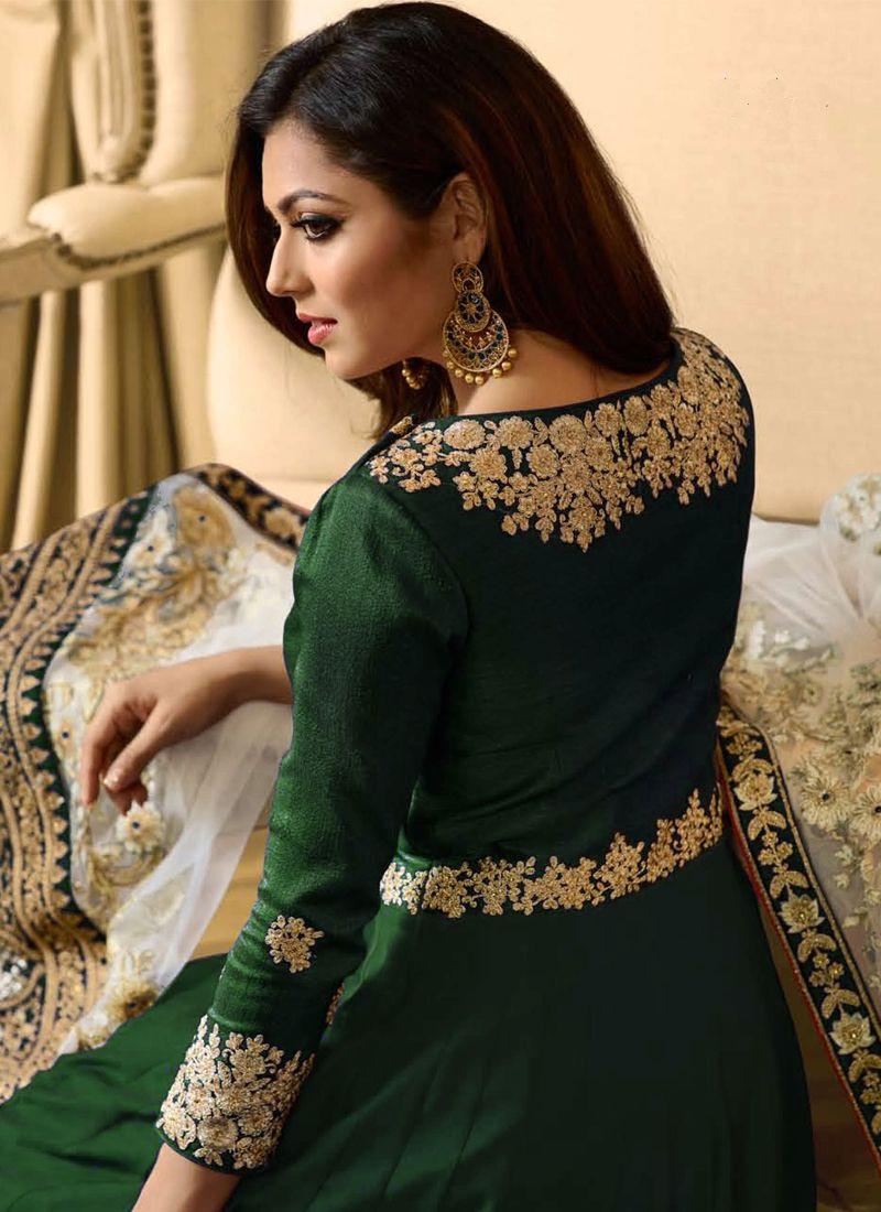 Drashti Dhami Green Georgette Bollywood Anarkali Gown for Wedding