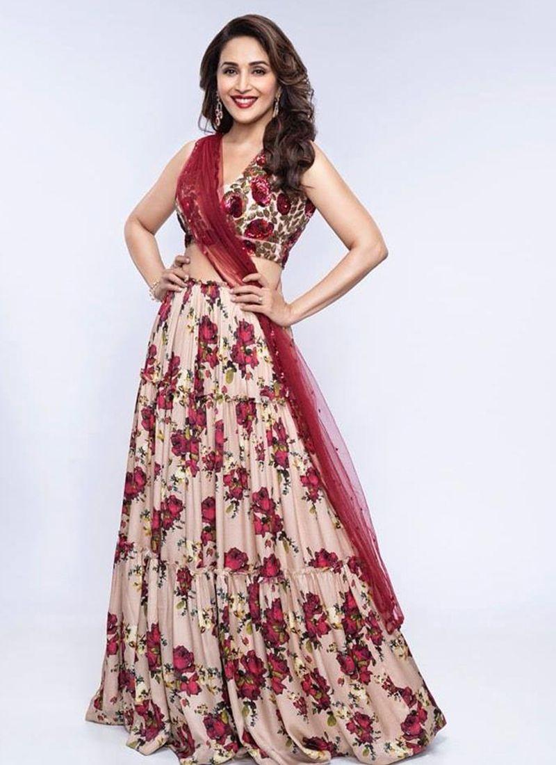 Madhuri Dixit Peach Color Bollywood Party Wear Lehenga Choli 2020