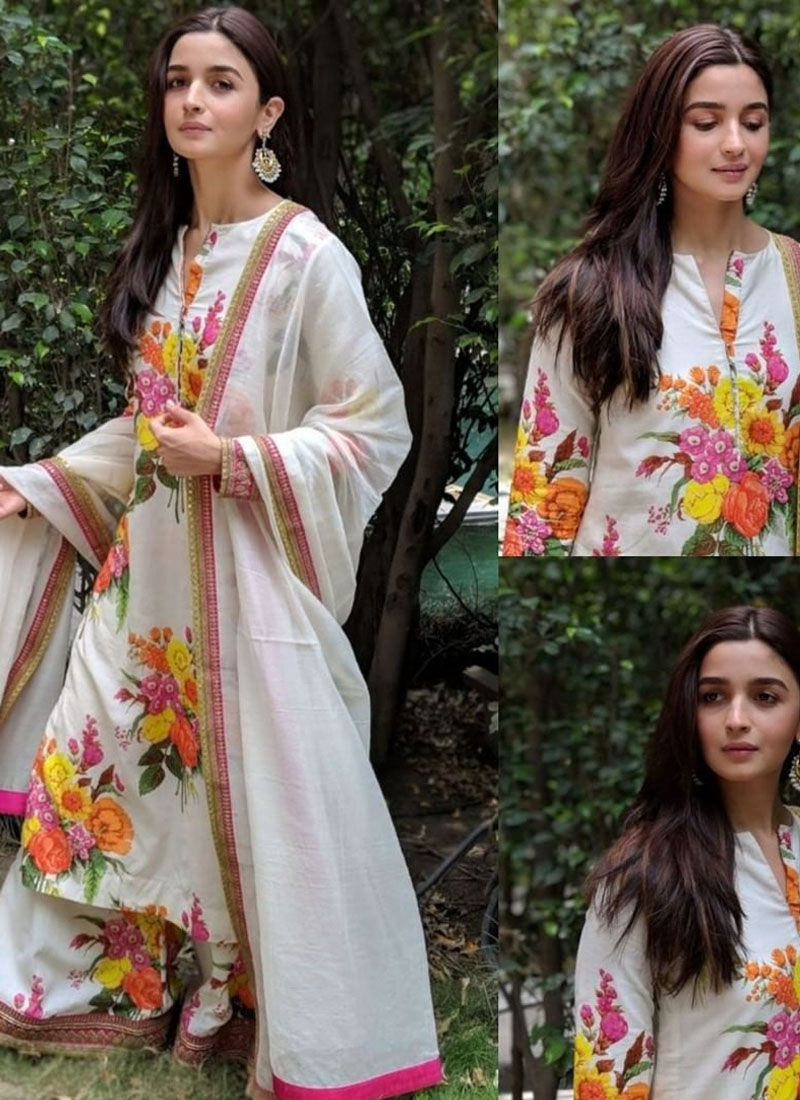 Alia Bhatt Bollywood Designer White Floral Printed Anarkali Dress