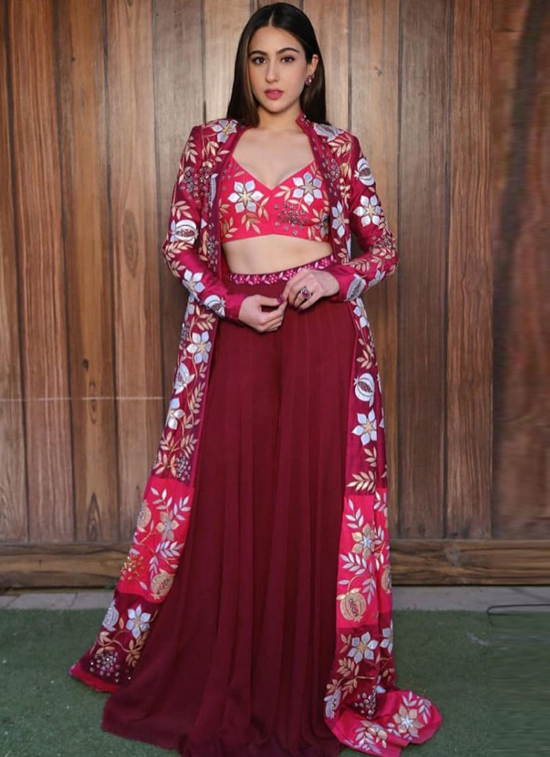 Sara Ali Khan Bollywood Designer Red Plazo Suit With Koti