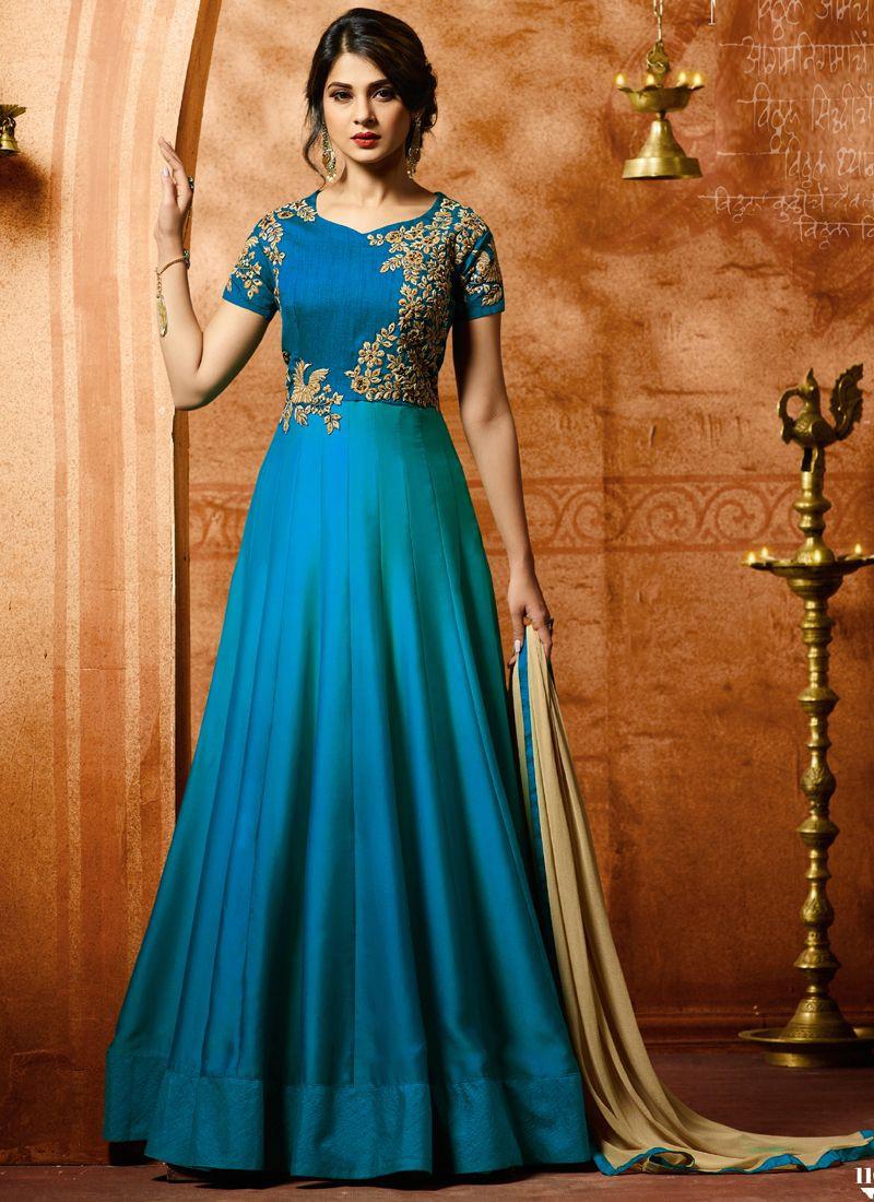 Buy Jennifer Winget Designer Firoji Bollywood Party Wear Anarkali Gown Online From YOYO Fashion