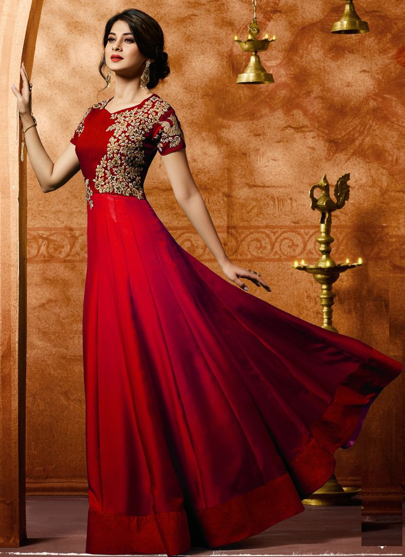 Jennifer Winget Bollywood Style Red Silk Anarkali Gown for Wedding