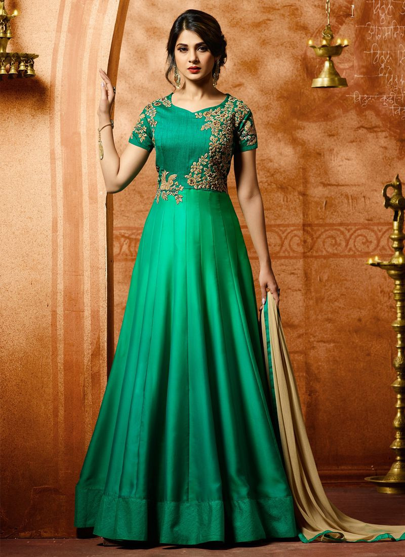 Buy Jennifer Winget Sea Green Bollywood Party Wear Long Anarkali Gown Online From YOYO Fashion