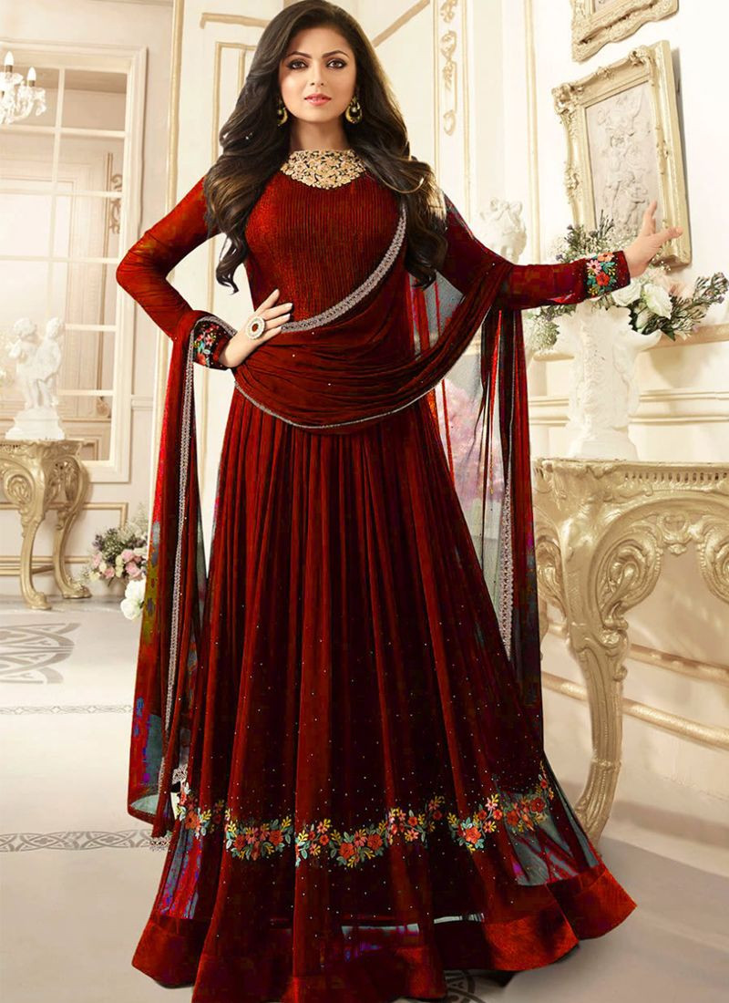 Buy Drashti Dhami Bollywood Style Maroon Anarkali Frock Suit Online From YOYO Fashion