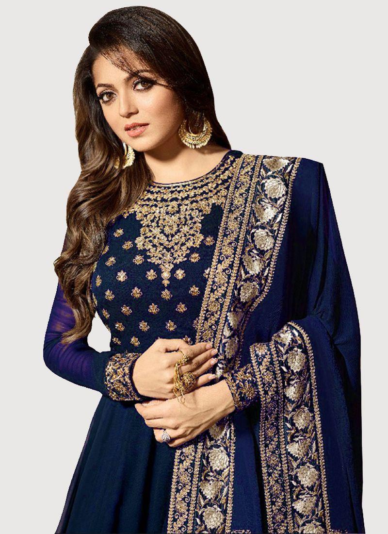Drashti Dhami Blue Georgette Bollywood Anarkali Dress